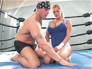 huge-boobed ash-blonde Shyla Stylez does some gonzo teaching
