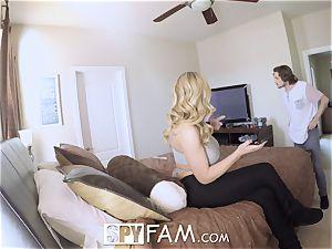 SPYFAM dripping DEEP internal ejaculation shag with Step mom