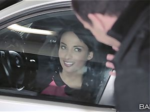 Anissa Kate drilling the manager in the car park