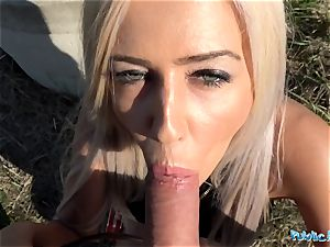 Public Agent tasty trimmed Romanian vag gets creampied