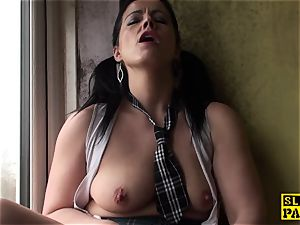Mature brit skank frigging her moist gash