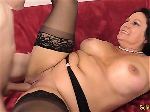 drilling Mature brunette Leylani chisel
