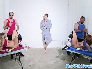two beauties make sure Danny D is rock rigid for pummeling