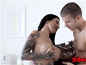 tatted honey Lily Lane bashed and fed with hot jism