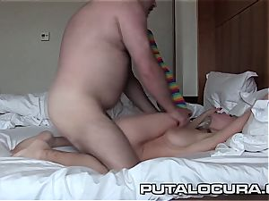 sumptuous Czech Lolly flashes off her yam-sized boobies and boinks from the rear