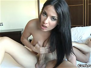 Anissa Kate wanks a man-meat with her humungous baps