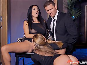Anissa Kate and Subil arch slide some spunk-pump down their pinkish pretty tacos