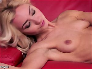 red couch lesbos get succulent