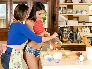 Kendra fervor and Adria Rae lesbian action in the kitchen