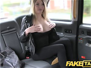 faux cab footjob and phat popshot for super-cute hairless pussy