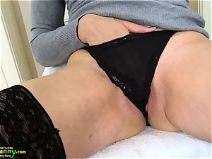 OldNanny ultra-kinky blondie Mature Evi Solo beaver playing