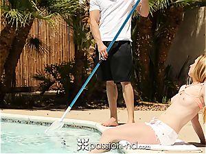 Pool guy bangs splendid redhead