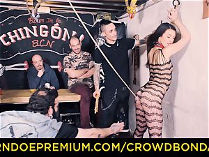 CROWD bondage - Tiffany nymph gets smacked in bdsm nail