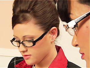 Lisa Ann teasing her coworker's fur covered slit